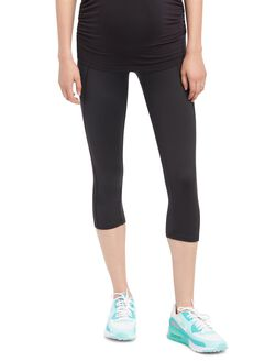 Secret Fit Belly Maternity Crop Active Pants- Black, Black