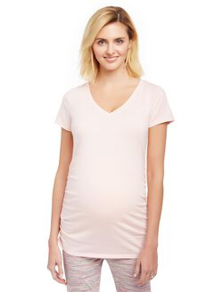 V-neck Side Ruched Maternity Tee, Rose Quartz
