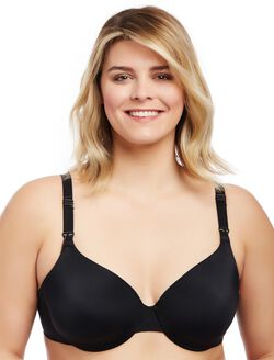 Plus Size Full Coverage Back Smoothing Nursing Bra- Black, Black
