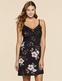 Jessica Simpson A-line Nursing Nightgown, Black Floral