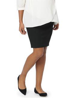 Secret Fit Belly Pencil Fit Maternity Skirt- Black, Solid Black