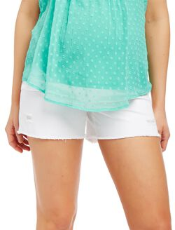 Secret Fit Belly Fray Hem Maternity Shorts, White