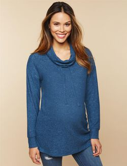 Cowl Neck Maternity Sweatshirt, Teal
