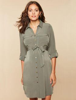 Tie Detail Maternity Dress, OLIVE