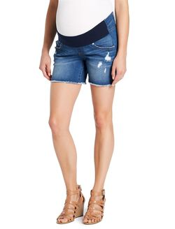 Jessica Simpson Front Panel Fray Hem Maternity Shorts, Dark