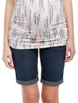 Secret Fit Belly Cuffed Maternity Bermuda Shorts, Wetland Dark Wash