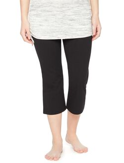Fold Over Belly Maternity Active Crop Pants, Black
