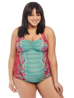 Plus Size Floral Geo Print Maternity Tankini Swimsuit, Geo/Floral Print