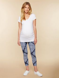 Secret Fit Belly Printed Maternity Crop Leggings- Blue Bandanna, Blue Bandanna Print