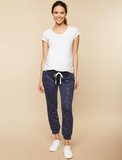 Under Belly French Terry Jogger Maternity Active Pants, Navy Spacedye