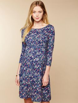 Web Only Knot Front Maternity Dress, Blue Floral