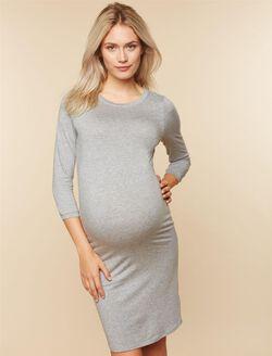 3/4 Sleeve Maternity T-Shirt Dress, Light Grey