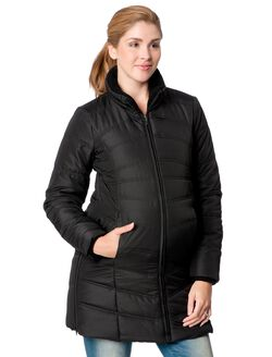 Quilted Puffer Maternity Coat, Black