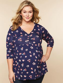 Plus Size Ruched Neckline Babydoll Maternity Top, NAVY FLORAL