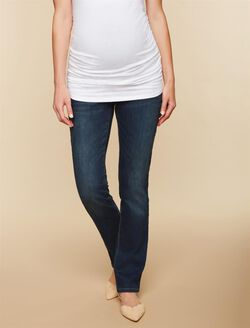 Petite Secret Fit Belly Stretch Straight Leg Maternity Jeans, Dark Wash