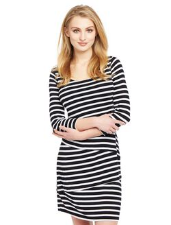 Lift Up Tiered Nursing Dress, Black/White Stripe