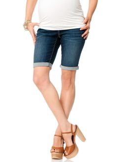 Secret Fit Belly Flap Pocket Maternity Bermuda Shorts, Dark Wash
