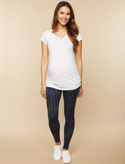 Secret Fit Belly Printed Maternity Leggings, Black/Grey