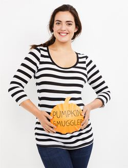 Pumpkin Smuggler Maternity Tee, Black White Stripe