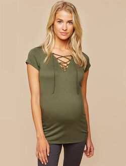 Tie Front Maternity Top, Green