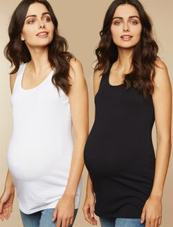 BumpStart Maternity Tank Top (2 Pack)- Black/White, Black And White