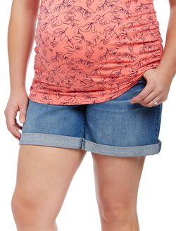 Plus Size Secret Fit Belly Roll Hem Maternity Shorts, Medium Wash