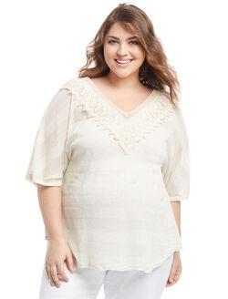 Plus Size Lace Trim Maternity T Shirt, Cream