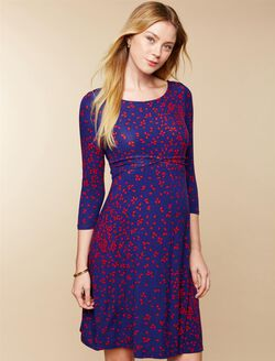 Knot Front Maternity Dress, Navy/Red