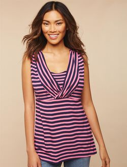Side Access Ruched Nursing Top, Pink/Navy Stripe