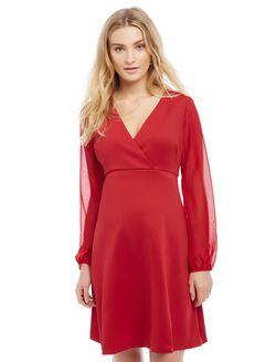 Sheer Sleeve Maternity Dress, Red