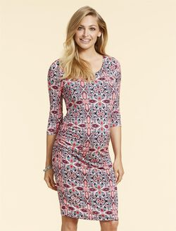 Jessica Simpson Side Ruched Maternity Dress, Pink Print