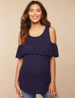 Ruffle Cold Shoulder Maternity Top, Navy