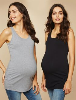 BumpStart Maternity Tank Top (2 Pack)- Black/Grey, Black And Grey