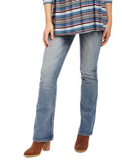 Secret Fit Belly Stitched Pocket Boot Cut Maternity Jeans, Light Wash