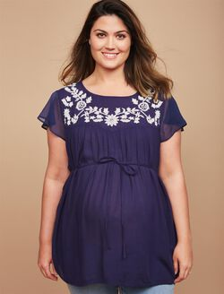 Plus Size Embroidery Maternity Blouse, Navy/Natural