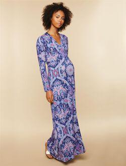 Printed Wrap Maternity Maxi Dress, Navy Print