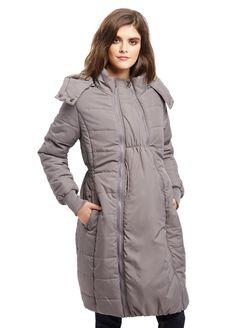 Modern Eternity 3 In 1 Knee Length Maternity Puffer Coat, Grey