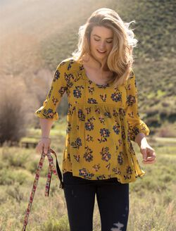 Tie Front Maternity Blouse, Gold Floral