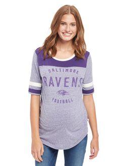 Baltimore Ravens NFL Elbow Sleeve Maternity Graphic Tee, Ravens Purple