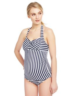 Tie Detail Striped Maternity Tankini Swimsuit, Navy/White Stripe