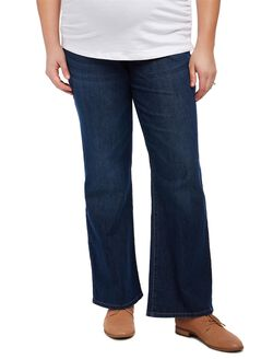 Plus Size Petite Secret Fit Belly Boot Cut Maternity Jeans, Dark Wash