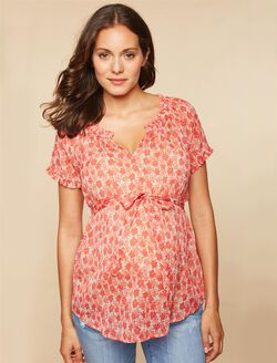 Ruffled Maternity Blouse, Coral Floral