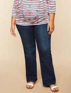 Plus Size Secret Fit Belly Boot Cut Maternity Jeans, Midnight Dark Wash