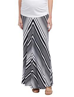 Fold Over Belly Maternity Maxi Skirt- Black/White Stripe, Black/White Stripe