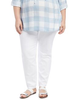 Plus Size Secret Fit Belly Skinny Leg Maternity Jeans, White
