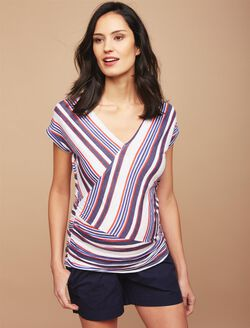 Striped Faux Wrap Maternity Tee, Red/White/Blue
