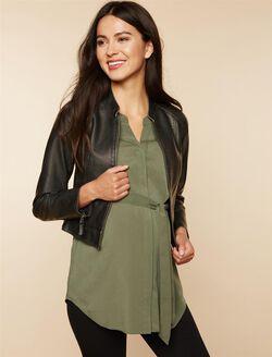 Distressed Fabric Maternity Jacket, BLACK