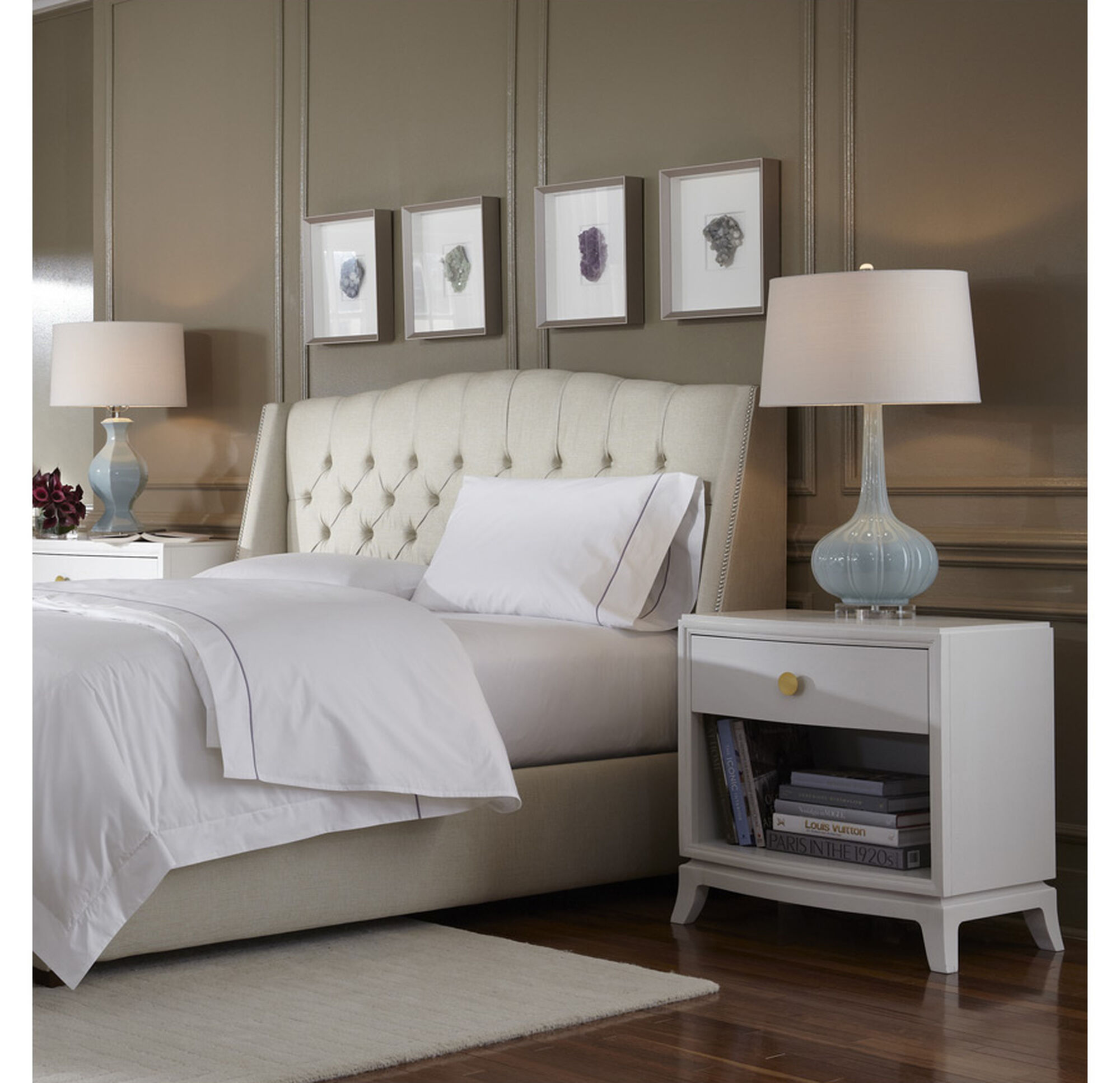 Mitchell Gold Bedroom Furniture Helaine Queen Floating Rail Bed Combo